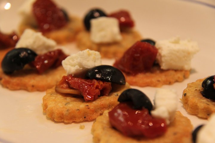 Rosemary and parmesan shortbreads with sun dried tomato for Canape toppings